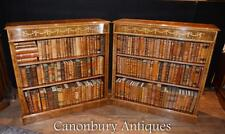 Pair Regency Low Open Bookcases in Walnut Marquetry Inlay