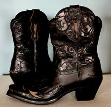 NEW! Ariat Dahlia Black Ebony Floral Wingtip Western Women's 8.5 Boots #10011914