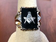 Vintage 10K Yellow Gold Men's Black Onyx Mason Masonic Ring Size 8.5 , 7.4 g