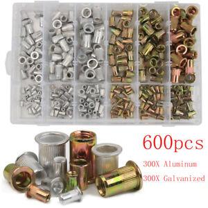 600pcs Mixed Zinc Aluminum Rivnuts Blind Set Nutserts Threaded Rivet Nuts M3-M10