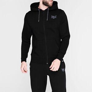 Mens Black Everlast Boxing Gym Full Zip Up Hoodie Sweater Track Top Sweatshirt