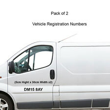 2 x Registration Number Stickers Car,Van,Lorry,Truck Tracking, HGV, Pant, Digger