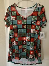 NWT LulaRoe Classic T Christmas Print Material Size XS