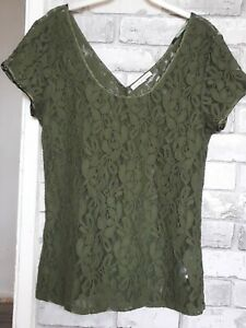 Ladies Green Lacey Top. Size L By Banana Republic
