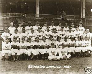 Jackie Robinson First Team Photo Brooklyn Dodgers 1947 Dodger Stadium Baseball