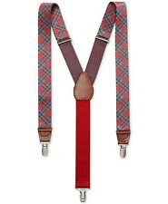 Club Room Men's Tartan Plaid Suspenders Red one size