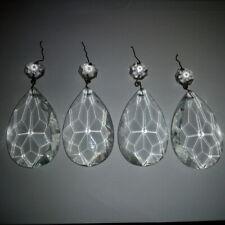 4 pampilles avec octogons pour lustre XIX s - XX siècle dos taillés et plats