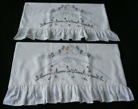 White Cotton Sateen Embroidered PillowCases (2) King Standard Southern Belle New