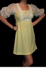 S Vtg 60s BABYDOLL MINI Dress Yellow White Eyelet Knit Empire Tie Back Puff Slv