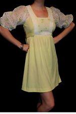 S Vtg 1960s Teena Paige Mini Dress Yellow White Eyelet Knit Empire Puff Slv 60s