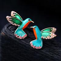 Women Elegant Retro Alloy enamel Lovely Bird Earrings Women jewelry BJ