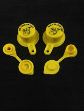 2X BLITZ Yellow Spout Caps for gas can spouts, with TWO Tri-Sure Vents!!