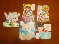 Lot of 5 Vtg Hallmark Cards 4 Easter 1 BD Bunny Girl/Bunnies/Little Bo Peep