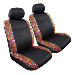 Bronzing Feather  Italian Suede w/t Elite Mesh 2pcs Universal Car Seat Covers
