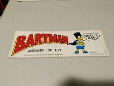 Vintage 1990 The Simpsons Bumper Sticker Bartman Avenger Of Evil! Watch it dude