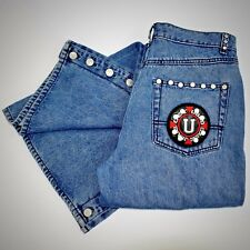 Vintage Womens Jeans 30 Get Used Blue Cotton Wide High Waist Studs Rare