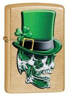 Zippo Irish Skull Design Gold Dust Windproof Pocket Lighter, 49121