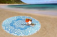Ombre Mandala Cotton Tapestry New Printed Round Ethnic Indian Yoga Mat Blanket