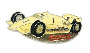 Delco Electronics It's Who We Are Vintage Slogan White Racing Car Lapel Hat Pin