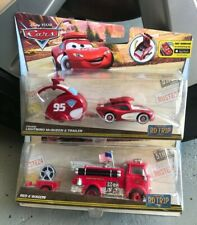 DISNEY CARS LOT OF 2 ROAD TRIP RED & CRUISIN LIGHTNING MCQUEEN WITH TRAILER