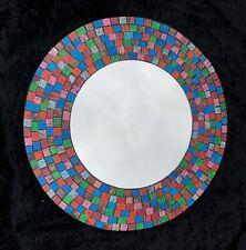 Miroir rond mosaïque Multicolore Orange Bleu Vert Rose Rouge 40 cms
