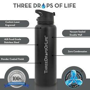 40oz Vacuum Insulated, Double Wall Stainless Steel Water Bottle, Includes 3 Lids