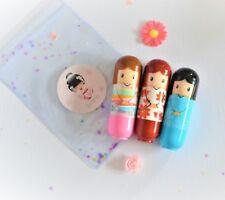 Japanese Kimono doll 3 x lip balm gift set lipstick gloss girls beauty spa kit