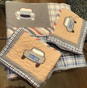 """Vintage Pottery Barn Kids Clayton's cars Full/queen Quilt Set 84""""Lx88""""w. 2 Shams"""