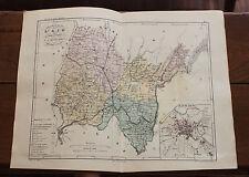 1850 Carte Géographique Atlas époque couleur Département 01 L'Ain Bourg