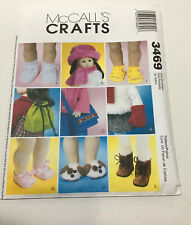 """M 3469 SEW PATTERN 18"""" DOLL ACCESSORIES HAT SCARF MITTENS BAG BACKPACK BOOTS+ UC"""