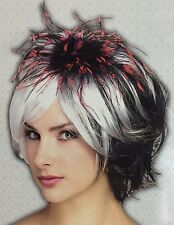 Rubie's Gothic Punk Adult Wig Cosplay Halloween Black White Red Feathers