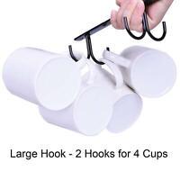 3x Kitchen Mug Hook Cup Holder Under Shelf Hanger Cupboard Hanging Storage Rack