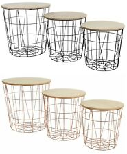 METAL WIRE WOOD TOP STORAGE SIDE TABLE STOOL NESTING BASKET STACK ABLE STACKING