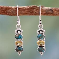 Women Dangle Boho Crystal Natural GEMSTONE Hook 925 Silver Turquoise Earrings
