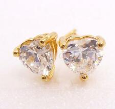 Men Unisex 18K Yellow Gold Plated 6mm Heart CZ Cubic Crystal Stud Earrings Pair