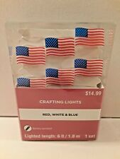 American Flag Battery Operated LED String Lights 6ft Length New in Box