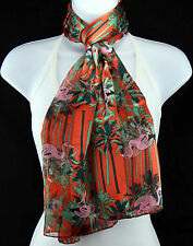 Pink Flamingos Womens Scarf Tropical Orange Green Black Bird Gift Scarves New