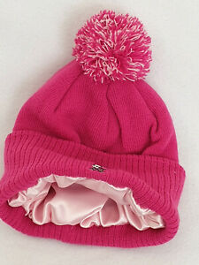 Children Kids satin lined Bobble Winter Hats Curly Hair Knitted wooly Pom Poms