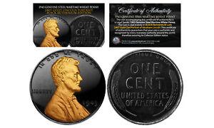 1943 Genuine BLACK RUTHENIUM & 24K Golden Abraham Lincoln STEEL WAR WHEAT PENNY