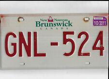 """NEW BRUNSWICK passenger 2011 license plate """"GNL-524"""""""