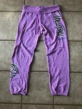 Justice Girls Active Volleyball Purple Glitter Sweat Pants Sweatpants SZ 16