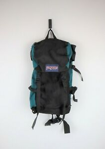 Vintage 90s Jansport Teal and Black Camping Hiking Backpack, Made In USA