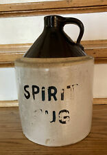 "Antique  Moonshine Spirit Jug Stoneware 2 Tone Whiskey Crock 10"" By 7"""