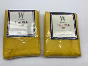 2x Vintage W Wamsutta Pima Rich Sun Yellow 280 Thread Twin Flat Sheet Solid USA