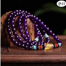 6mm Natural Amethyst Tibet Buddhist 108 Prayer Beads Mala Necklace/ Bracelet