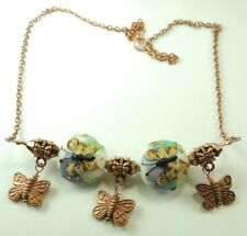 handcrafted  Butterfly Lampwork Necklace with ButterflyCharms & Crystal