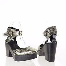 Free People Women's Shoes Gold Cracked Leather Platform Sandal Heels Size EU 37