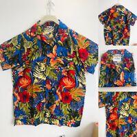 Mens Hawaiian Shirt Short Sleeve Beach Aloha Party Shirt Blue L Large New