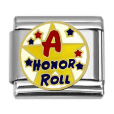 Star Honor Roll Italian Charm 9 mm Stainless Steel Link for Bracelets