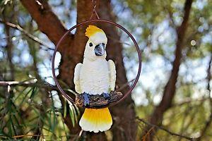 Cockatoo Aussie Bonsai bird in metal ringPatio Tree Decoration 10x 15cms